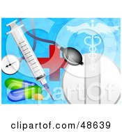 Medicine Stethoscope Syringe Red Cross And Caduceus Hospital Collage