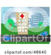 Royalty Free RF Clipart Illustration Of Two Ambulances Driving On A Road In Front Of A Hospital by Prawny