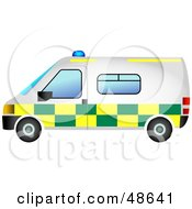 Royalty Free RF Clipart Illustration Of A White Green And Yellow Ambulance