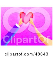Royalty Free RF Clipart Illustration Of Two Hands Mending A Heart