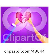 Royalty Free RF Clipart Illustration Of Two Hands Breaking Or Fixing A Heart