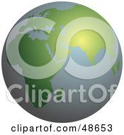 Royalty Free RF Clipart Illustration Of A Green And Gray Globe With African And Asia