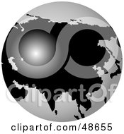 Royalty Free RF Clipart Illustration Of A White And Black Globe Featuring Asia