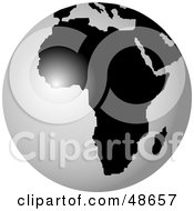 Royalty Free RF Clipart Illustration Of A White And Black Globe Featuring Africa