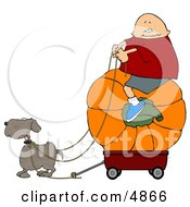 Funny Dog Pulling A Boy On A Big Pumpkin In A Wagon by djart
