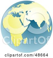 Royalty Free RF Clipart Illustration Of A Blue And Golden Globe Featuring Africa And Asia