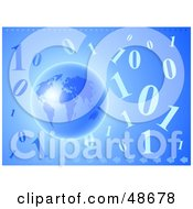 Royalty Free RF Clipart Illustration Of A Blue Globe With Arrows And Binary