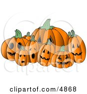 Scary Halloween Pumpkin Carvings Clipart