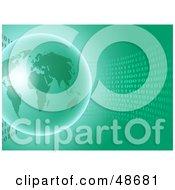 Shiny Green Globe On A Wave Of Binary