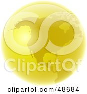 Royalty Free RF Clipart Illustration Of A Golden Globe Featuring America