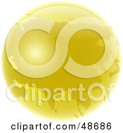 Royalty Free RF Clipart Illustration Of A Golden Globe Featuring Asia