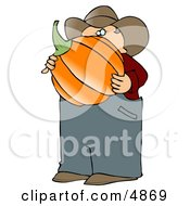 Caucasian Male Farmer Carrying A Freshly Harvested Halloween Pumpkin From His Garden