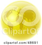 Royalty Free RF Clipart Illustration Of A Golden World Globe