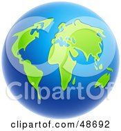 Royalty Free RF Clipart Illustration Of A Globe With Deep Blue Seas And Lush Green Continents