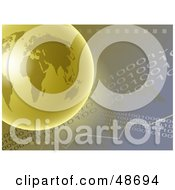 Royalty Free RF Clipart Illustration Of A Golden Globe Over A Binary Background