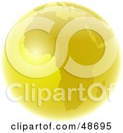 Royalty Free RF Clipart Illustration Of A Golden Globe Featuring Africa