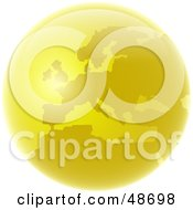 Royalty Free RF Clipart Illustration Of A Golden Globe Featuring Europe