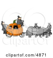 Horses Pulling People On A Pumpkin Carriage Clipart