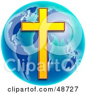 Royalty Free RF Clipart Illustration Of A Golden Cross Over A Blue Globe by Prawny #COLLC48727-0089