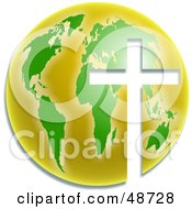Royalty Free RF Clipart Illustration Of A White Cross Cut Out Of A Green And Yellow Globe