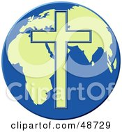 Royalty Free RF Clipart Illustration Of A Yellow Cross Over A Blue And Yellow Globe