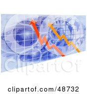 Royalty Free RF Clipart Illustration Of Red And Orange Arrows Over Blue Grid Globes