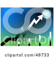 Royalty Free RF Clipart Illustration Of A Green And Blue Graph Background With An Arrow Pointing To Earth by Prawny