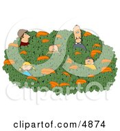 Family Looking For That Perfect Halloween Pumpkin In A Farmers Pumpkin Patch Clipart