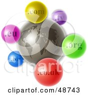 Royalty Free RF Clipart Illustration Of A Gray World With Colorful Domain Extension Icons