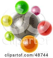 Royalty Free RF Clipart Illustration Of A Gray World With Colorful Fruit Icons
