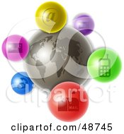 Royalty Free RF Clipart Illustration Of A Gray World With Colorful Communications Icons by Prawny