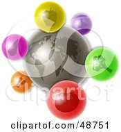 Royalty Free RF Clipart Illustration Of A Gray World With Colorful Nutrition Icons by Prawny