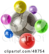 Royalty Free RF Clipart Illustration Of A Gray World With Colorful Continent Icons