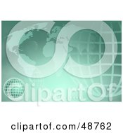 Royalty Free RF Clipart Illustration Of A Green Background Of An Atlas And Wire Globe by Prawny