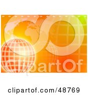 Royalty Free RF Clipart Illustration Of An Orange Background Of An Atlas And Wire Globe by Prawny