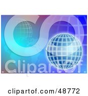 Royalty Free RF Clipart Illustration Of A Purple And Blue Background Of An Atlas And Wire Globe