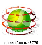 Royalty Free RF Clipart Illustration Of Red Arrows Revolving Around A Green Globe by Prawny