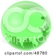 Royalty Free RF Clipart Illustration Of A Green Globe Of Asia