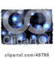 Royalty Free RF Clipart Illustration Of A Grungy Blue Wire Globe Background