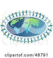Royalty Free RF Clipart Illustration Of Paper People Holding Hands Around An Atlas by Prawny