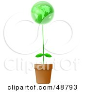 Royalty Free RF Clipart Illustration Of A Potted Plant With A Green Globe Bloom by Prawny