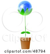 Royalty Free RF Clipart Illustration Of A Potted Plant With A Blue Globe Bloom