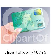 Royalty Free RF Clipart Illustration Of A Womans Hand Holding A Green Global Finance Credit Card by Prawny