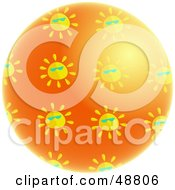 Royalty Free RF Clipart Illustration Of A Shiny Orange Planet Surrounded By Suns Wearing Shades by Prawny