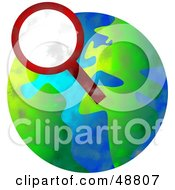 Royalty Free RF Clipart Illustration Of A Magnifyging Glass Over A Globe