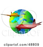 Royalty Free RF Clipart Illustration Of Two Airliners Cruising Around Earth by Prawny