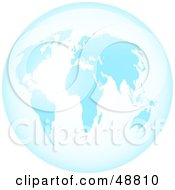 Royalty Free RF Clipart Illustration Of A Blue Glass World Globe by Prawny