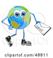 Royalty Free RF Clipart Illustration Of A Blue Eyed Globe Man Carrying An Email by Prawny
