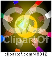 Royalty Free RF Clipart Illustration Of A Shining Gold Globe Surrounded By Diverse Reaching Hands