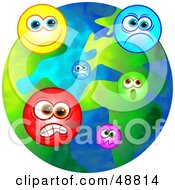 Royalty Free RF Clipart Illustration Of An Emotional World With Moody Faces by Prawny